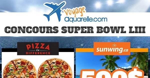 Concours Gagnez 500$ en crédit voyage Sunwing et Repas Super Bowl!