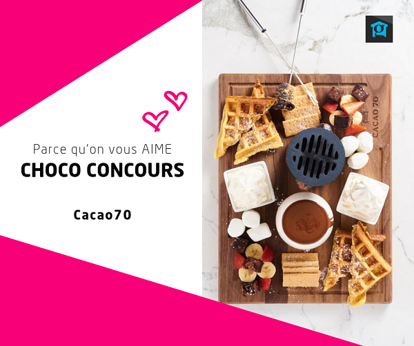 Concours Gagnez 1 des 2 chèques-cadeaux Cacao70 d'une valeur de 50$!