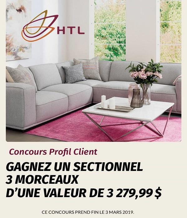 Concours Gagnez un sectionnel HTL 3 morceaux d'une valeur de 3 279,99$!