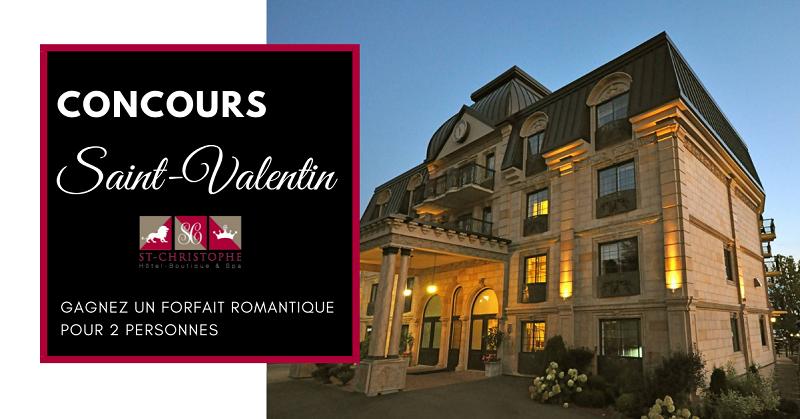Concours Gagnez un forfait romantique pour 2 personnes au St-Christophe Hôtel-Boutique & Spa!