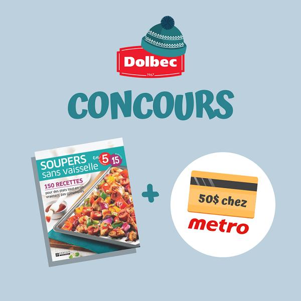 Concours Gagnez une carte-cadeau de 50$ chez Metro ainsi que le livre Soupers sans vaisselle!