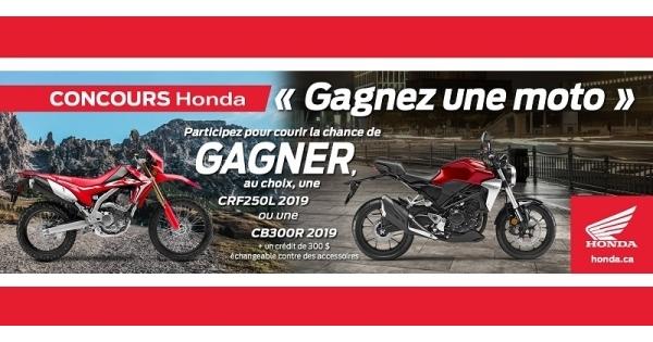Concours GAGNEZ UNE MOTO HONDA!