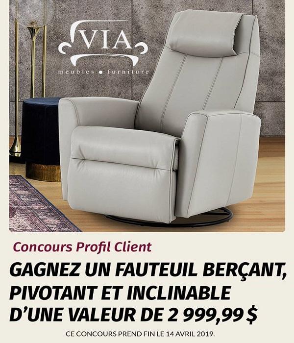 Concours Gagnez un fauteuil VIA berçant, pivotant et inclinable d'une valeur de 2 999,99$!