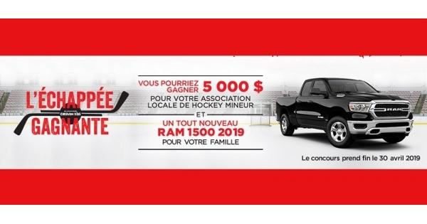 Concours Gagnez un tout nouveau Ram 1500 2019 et 5000 $ pour votre association locale de hockey mineur!