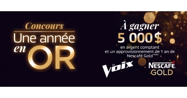 Concours Gagnez 5 000 $ en Argent et 1 An d'Approvisionnement de NesCafé Gold