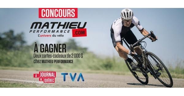 Concours Gagnez une carte-cadeau de 2 000 $ chez Mathieu Performance, l'univers du vélo!