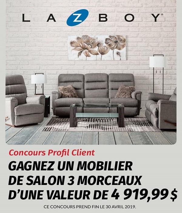 Concours Gagnez un mobilier de salon 3 morceaux d'une valeur de 4 919,99$!