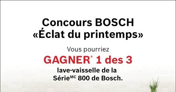 Concours Gagnez 1 des 3 lave-vaisselle de la série 800 de BOSCH!