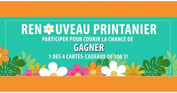 Concours Gagnez une carte-cadeau de 100 $ à l'un des endroits suivants  Walmart, Indigo, Canadian Tire ou Pharmaprix!