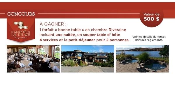 Concours Gagnez un forfait au Manoir du Lac Delage!