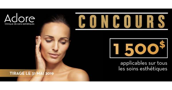 Concours Gagnez 1500$ sur les soins esthétiques chez Adore Soins Esthétiques!