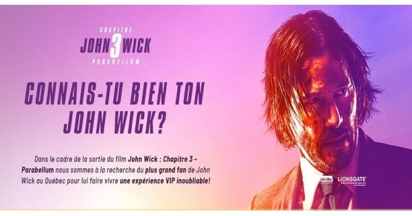 Concours Gagnez une expérience VIP inoubliable à New York à la première du film John Wick Chapitre 3!