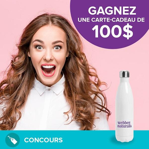Concours Gagnez 100$ en coupons rabais applicable sur les produits Webber Naturals!