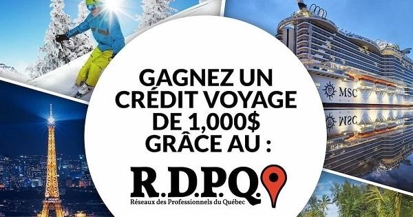Concours Gagnez un crédit voyage de 1000$ grâce au RDPQ!