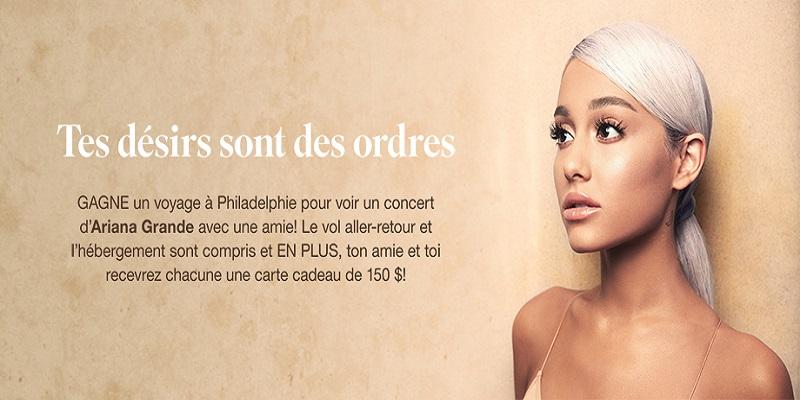 Concours GAGNE UN VOYAGE POUR VOIR UN CONCERT D'ARIANA GRANDE AVEC TA MEILLEURE AMIE!