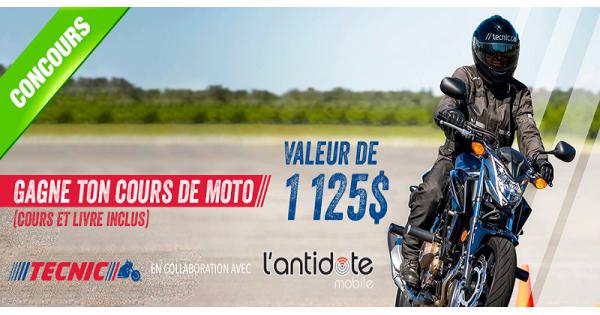 Concours Gagne ton cours de moto d'une valeur de 1125$!