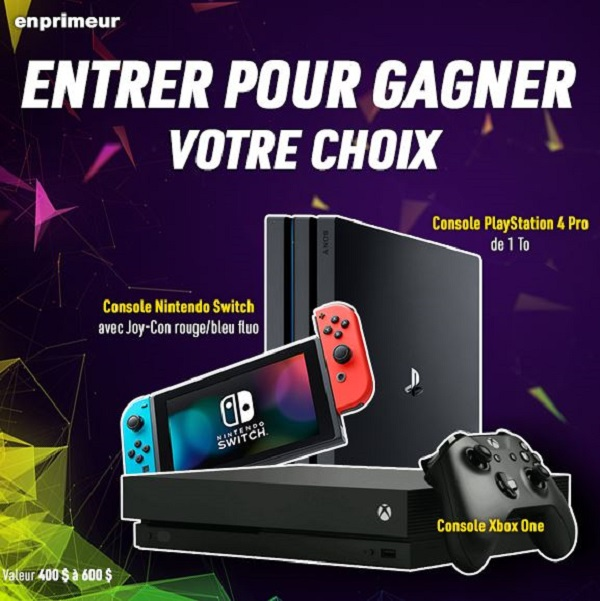 Concours GAGNEZ VOTRE CHOIX DE PLAYSTATION 4, NINTENDO SWITCH ou XBOX ONE!