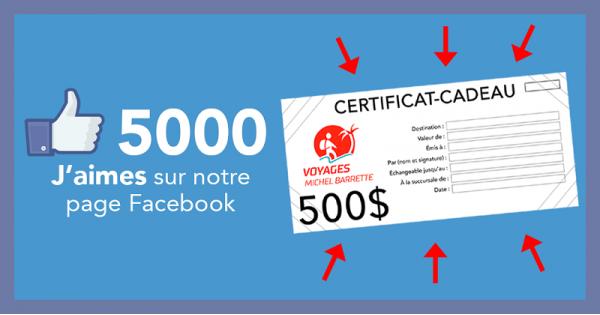 Concours Gagnez un crédit voyage de 500$ offert par Voyages Michel Barrette!