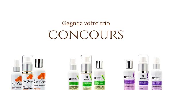 Concours Gagnez un trio de produits de soins de la peau Kamelya de votre choix!