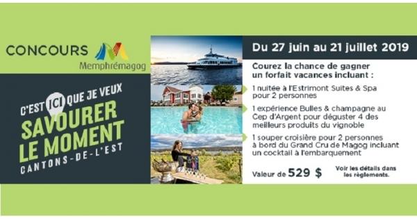 Concours Gagnez un forfait vacances d'une nuitée à l'Estrimont Suite & Spa!