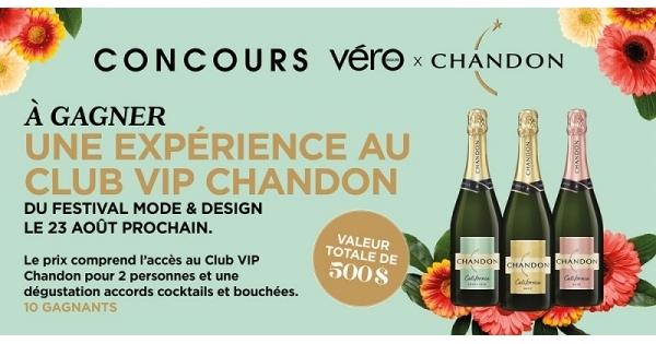 Concours Gagnez une soirée pour vous et une amie au Club VIP Chandon, comprenant des bouchées et des cocktails!