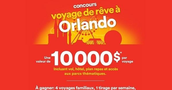 Concours Gagnez l'un des 4 voyages de rêve à Orlando!