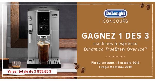 Concours Gagnez 1 des 3 machines à espresso et à cappuccino de Delonghi!
