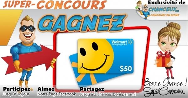 Concours Gagnez une Carte-Cadeau Walmart de 50$
