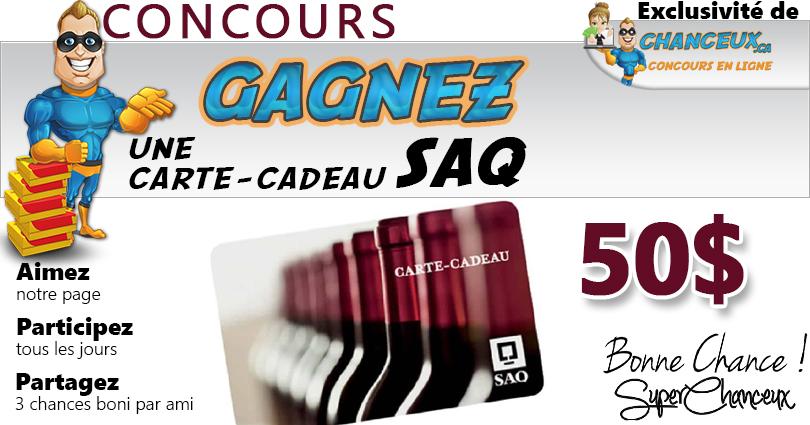 CONCOURS EXCLUSIF - Concours Gagnez une Carte-Cadeau SAQ de 50 $