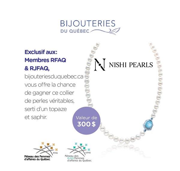 Concours Gagnez un collier de perles véritables serti d'un topaze et saphir!