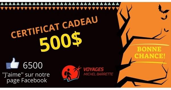 Concours Gagnez un certificat-cadeau Voyages Michel Barrette de 500$!
