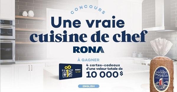 Concours Gagnez l'une des 4 cartes-cadeaux Rona de 2500$ chacune!