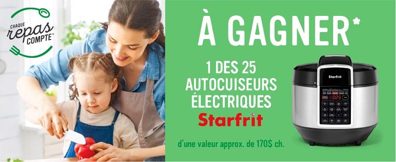 Concours Gagnez un des 25 autocuiseurs électriques Starfrit!