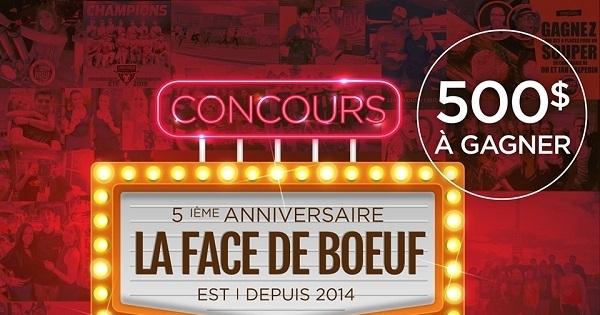 Concours Gagnez l'une des 10 cartes-cadeaux de 50$ à La Face de boeuf!