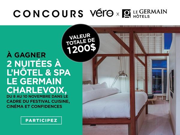 Concours GAGNEZ 2 NUITÉES À L'HÔTEL & SPA LE GERMAIN CHARLEVOIX, DU 8 AU 10 NOVEMBRE!