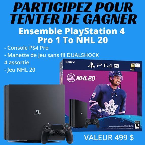 Concours Gagnez un ensemble PlayStation 4 Pro 1 To NHL 20 d'une valeur de 499$!