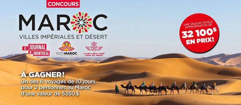 Concours Gagnez l'un des 6 voyages de 10 jours pour 2 personnes au Maroc!