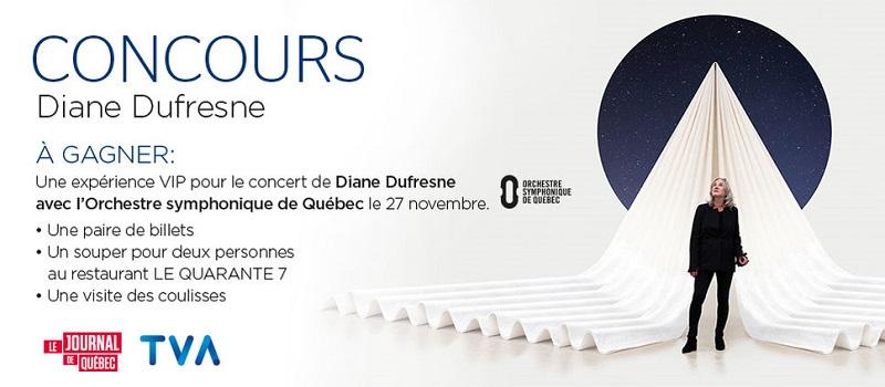 Concours Gagnez une expérience VIP pour le concert de Diane Dufresne avec l'Orchestre symphonique de Québec!