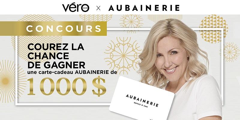 Concours Gagnez 1 000$ EN CARTE-CADEAU CHEZ AUBAINERIE POUR LE TEMPS DES FÊTES!