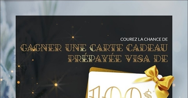 Concours Gagnez une carte cadeau de 100$ Visa prépayée!
