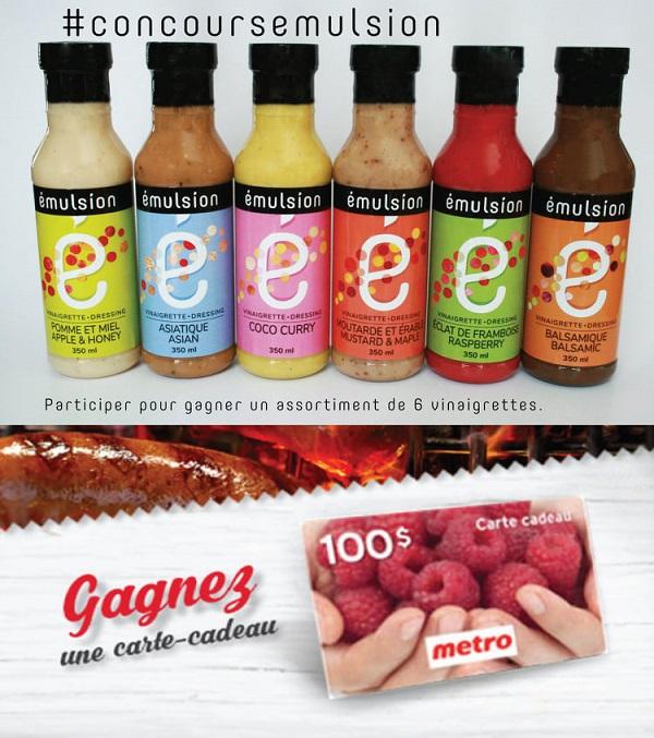 Concours Gagnez une carte cadeau Metro de 100$ et un assortiment de vinaigrettes Émulsion!