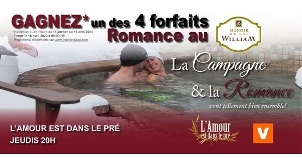 Concours Gagnez un des 4 forfaits Romance pour 2 nuitées au MANOIR DU LAC WILLIAM!