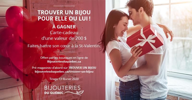 Concours Gagnez un certificat cadeau d'une valeur de 200$ offert par Bijouterie du Québec!