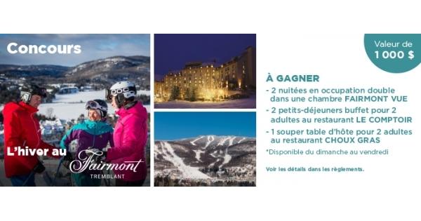 Concours Profitez de l'hiver au Fairmont Tremblant!