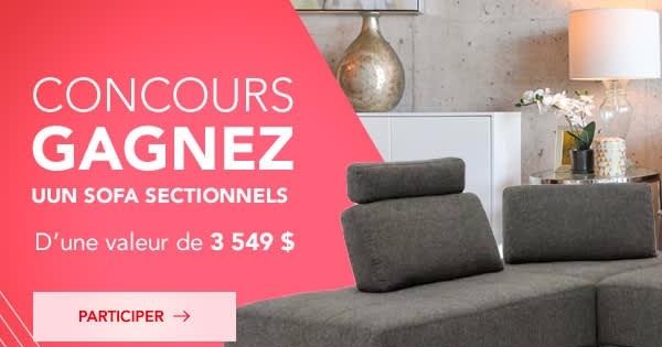 Concours Gagnez un Sofa sectionnel d'une valeur de 3549.95$!