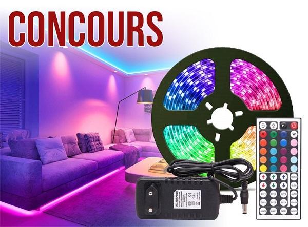 Concours Gagnez 2 ensembles de ruban LED multicouleurs avec télécommande!