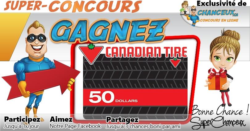 CONCOURS EXCLUSIF - Concours Gagnez une Carte-Cadeau Canadian Tire de 50$