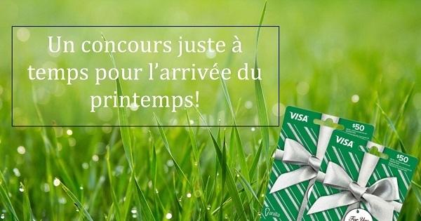 Concours Gagnez l'une des 2 cartes-cadeaux prépayées Visa de 50$ chacune ou 1 ménage de printemps résidentiel!