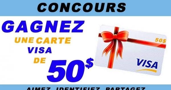 Concours GAGNEZ UNE CARTE CADEAU VISA PRÉPAYÉE DE 50$!