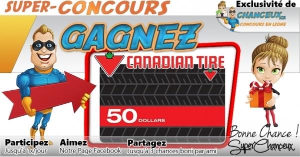 Concours Gagnez une Carte-Cadeau Canadian Tire de 50$